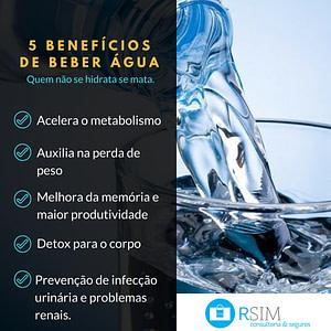 5 Benefícios de beber água